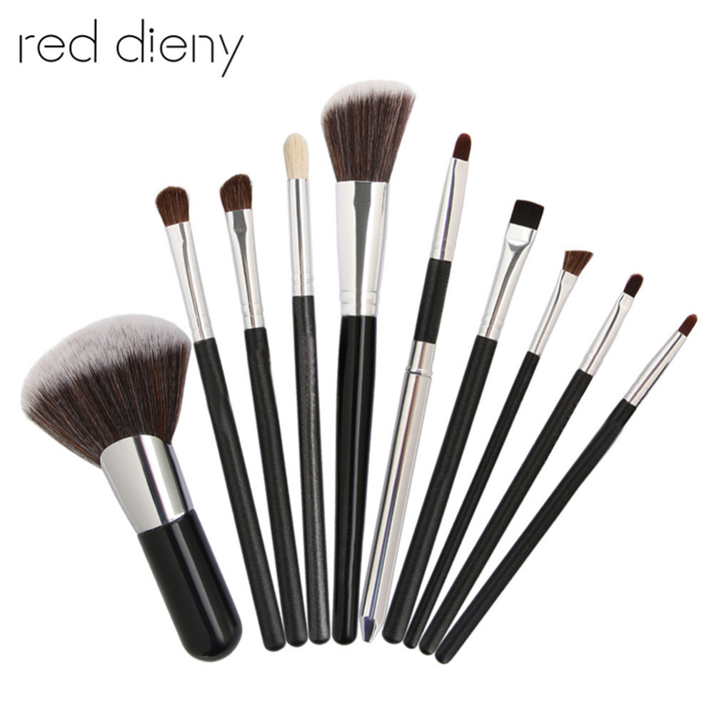 10pcs Cosmetic Makeup Brushes Set Power Eye Shadow Blush Brow Liner Lip Concealer Horse Hair Make Up Brush Beauty Tool Kit 1pcs h16 fog light 6500k xenon white 1440lm led bulbs for car drl lamp with canbus decoder error free load resistors harness set