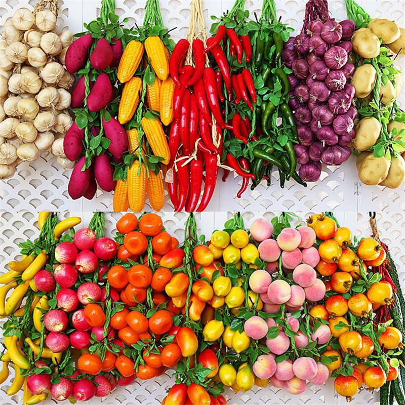 Artificial Simulation Food Vegetables Fruit PU Red Pepper Fake Lemon Vegetables For Home Restaurant Kitchen Garden Art Decor