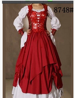 FREE SHIPPING The Queen Is Fitted With A Red European Medieval Court Costume