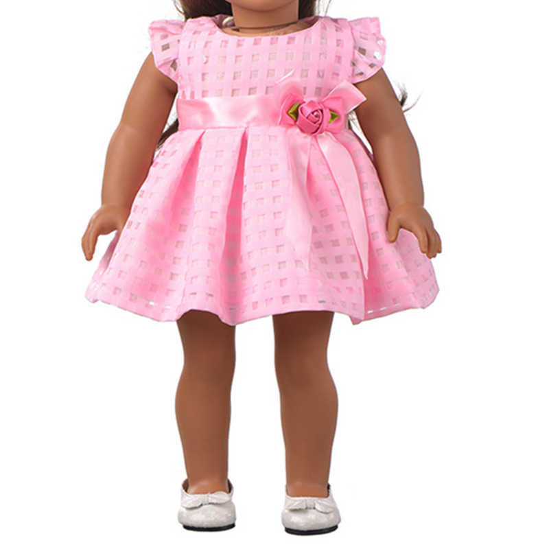 43-45cm Baby doll clothes for toy new born doll and 18 inches american doll Pink dress evening dress princess dress