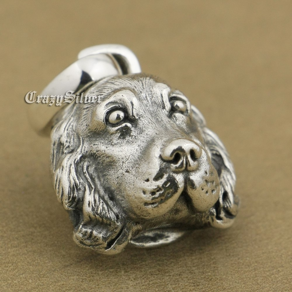 LINSION 925 Sterling Silver Cocker Spaniel Pendant Charms Small Animal Pendant TA37 linsion angel bird wing feather 2 side solid 925 sterling silver charms pendant 8a008