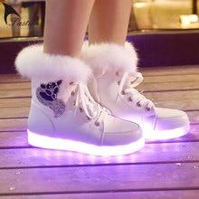 Marque 2017 Nouveau Lumineux Led Lumière Chaussures Femmes LED Bottes hiver USB Rechargeable Lumière Led Chaussures Pour Adultes Flash Chaussures femme