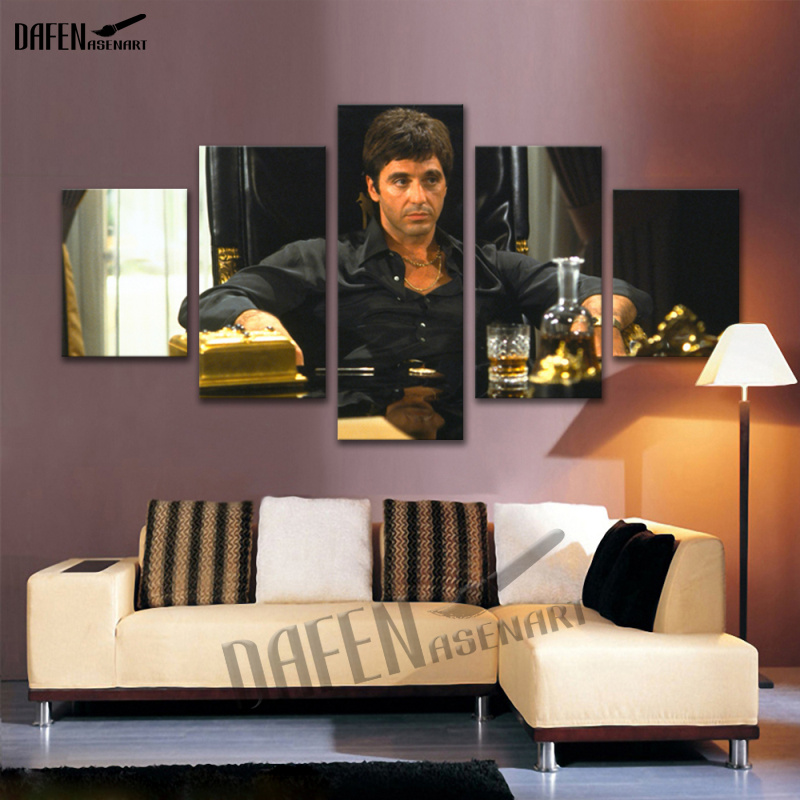 Canvas Art Movie Star Al Pacino in Tony Montana Scarface Picture 5 Piece Wall Painting Cafe Bar Home Decoartion with Framed shelf