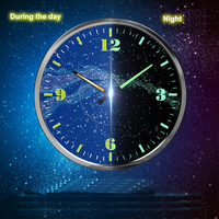 Mysterious cosmic wall clock The vast sky Blue Stars Luminous Wall Clock Living room clocks Classic Home Decoration
