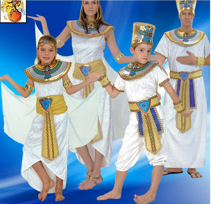 Children White Egyptian Pharaoh Cleopatra Adult Costumes Halloween Cosplay Gir Costume Egypt Princess Prince Family Party