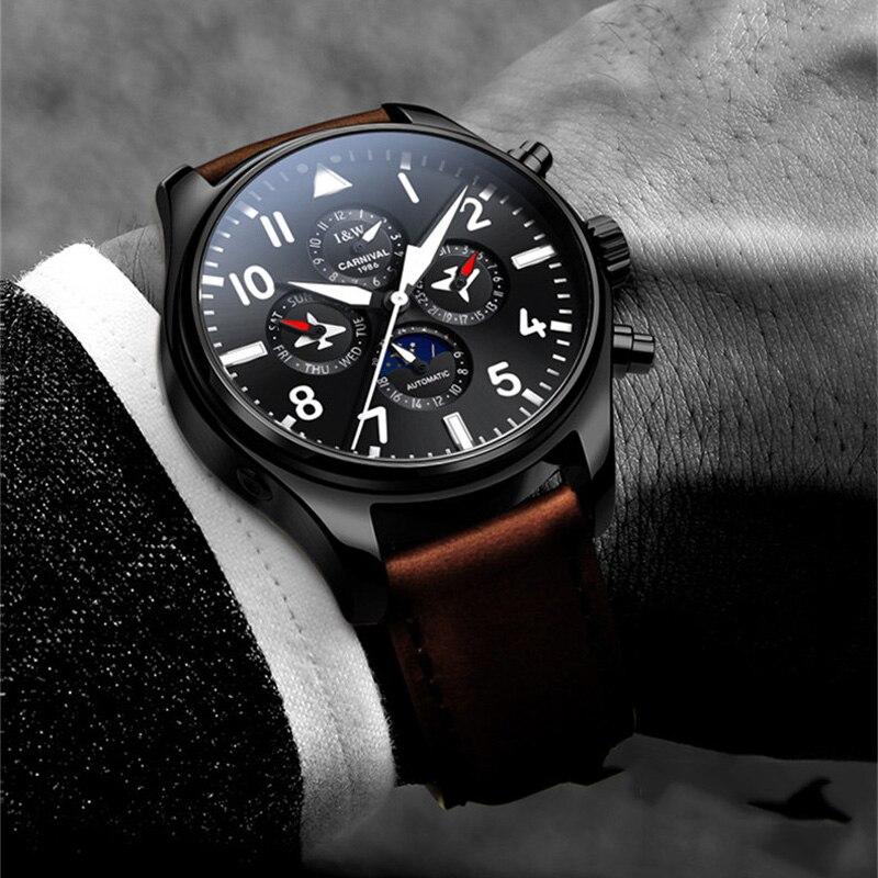 Mens Watches Top Luxury Brand CARNIVAL Waterproof Sport Wrist Watch Multifunctional Mechanical Military Genuine Leather Relogio