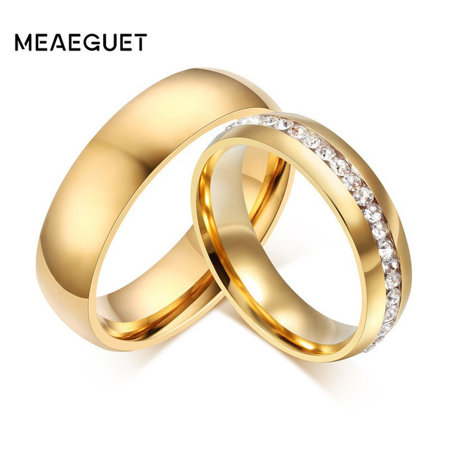 Meaeguet Gold color Stainless Steel Wedding Bands Shiny Crystal Ring for Female Male Jewelry 6mm Engagement Ring USA Size 5-13