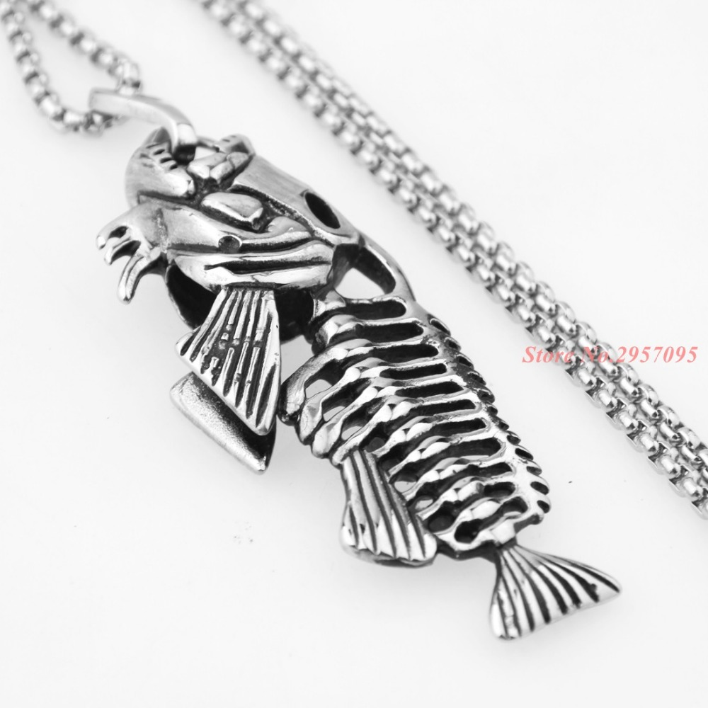 Hip Hop Chain For Men Big Fish Bone Statement Pendant Necklaces Gold Color Stainless Steel Fishing Hippie Jewelry