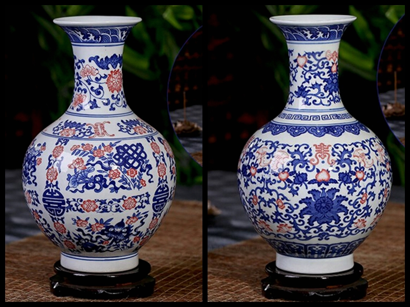 Chinesische antike blaue und weiße keramik blumenvase mit qing ...