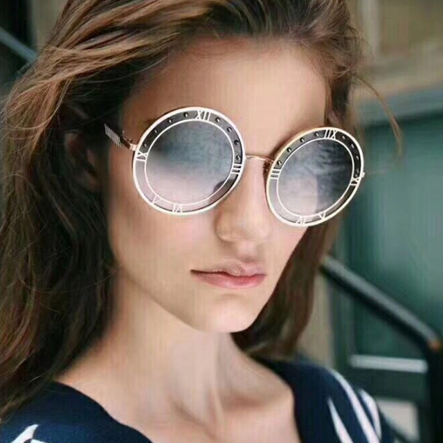 e5f2dff3596 Luxury Designer 2018 Round Sunglasses Pure Ocean Color Unisex Women Men New Brand  Vintage Ladies Fashion