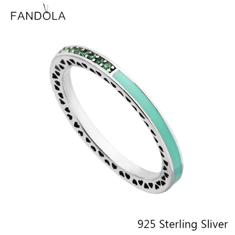925 Sterling Silver European Style Jewelry  Bright Mint Enamel & Royal Green Crystals Ring For Women Original Fashion Charms