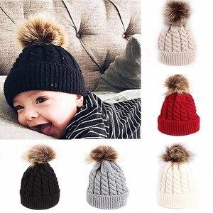 Winter Warm Baby Hat Fur Pompom Knitted Baby Girls Boys Hat Cap Infant Toddler Kids Hat Beanie Kids Children Caps Bonnet