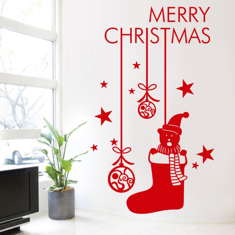 KAKUDER Wall Stickers 2018 simple modern Happy New Year 2018 Merry Christmas Tree Wall Sticker Home Shop Windows Decals May31