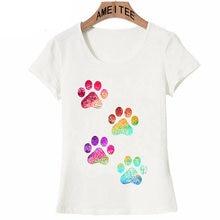 7b2f0316fd58 New Summer Women t-shirt Rainbow Paw Print T-Shirt Cute Girl Casual Tops  Novelty Tees Colorful Dog Paw Design Woman Short Sleeve