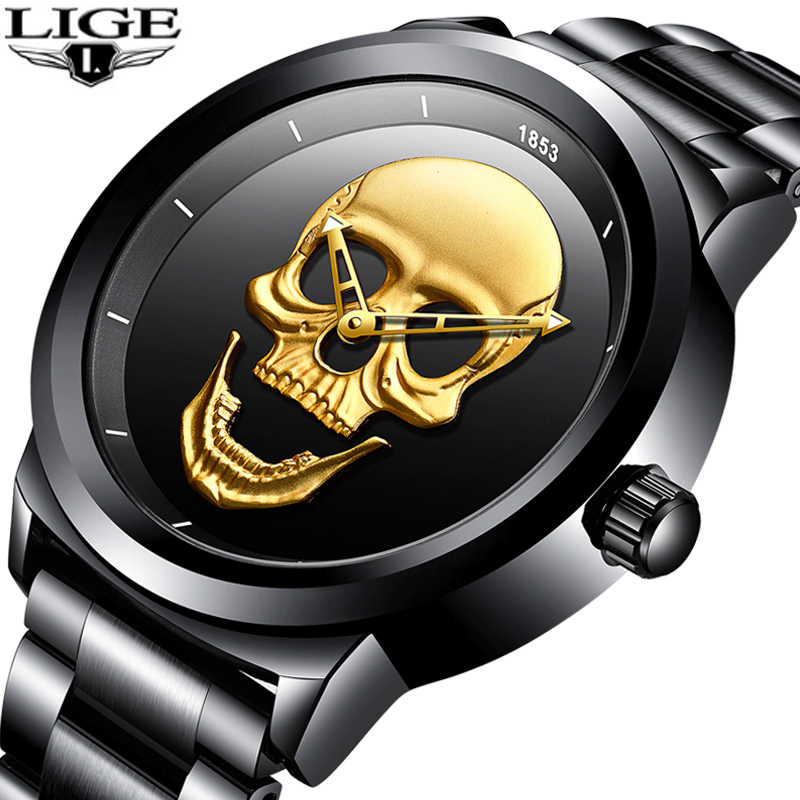 Relogio Masculino LIGE Herren Uhren Neue Schädel Uhr männer Militär Sport Uhr Männer Wasserdichte Edelstahl Gold Quarz Uhr