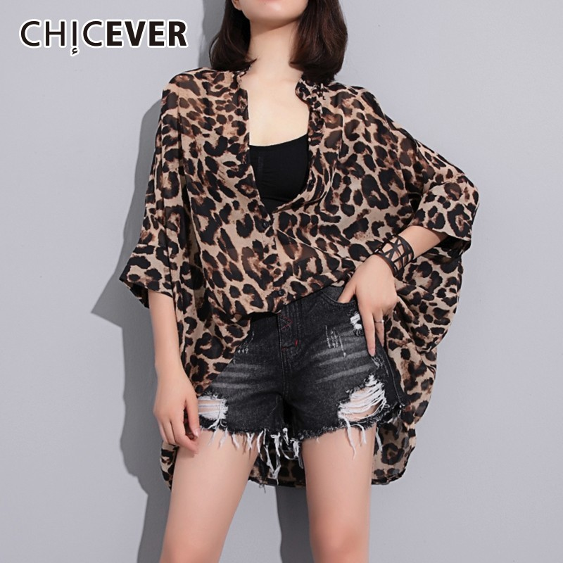 5ce9ab14c6da8 CHICEVER Summer Women's Blouse Shirt Leopard Batwing Sleeve Loose Big Size  Stand Shirts Blouses Clothes Fashion 2018
