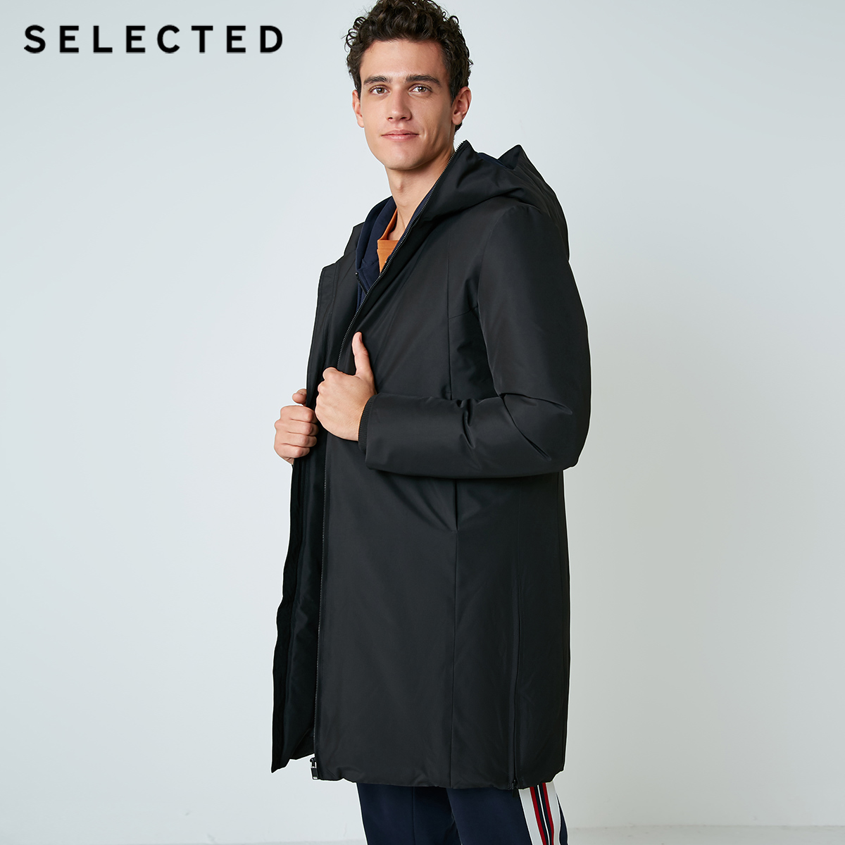 SELECTED Men's Down Jacket Medium-long Style Hooded Duck Parka Coat Winter Clothes S|418412507