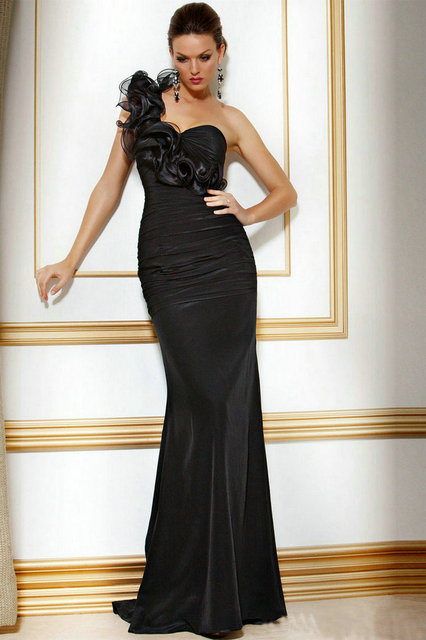 one shoulder vintage style fish tail evening banquet formal dress ...