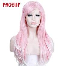 Страница 24 дюйма Синтетические длинные рифленые розовые парики для афро-американских термостойкие кудрявые косплей с крышкой парики для афро женщин