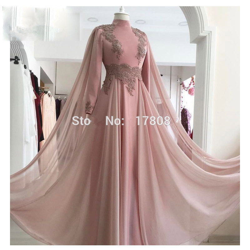 Pink Muslim Evening Dresses 2019 A-line Long Sleeves Chiffon Lace Beaded Islamic Dubai Saudi Arabic Long Formal Evening Gown