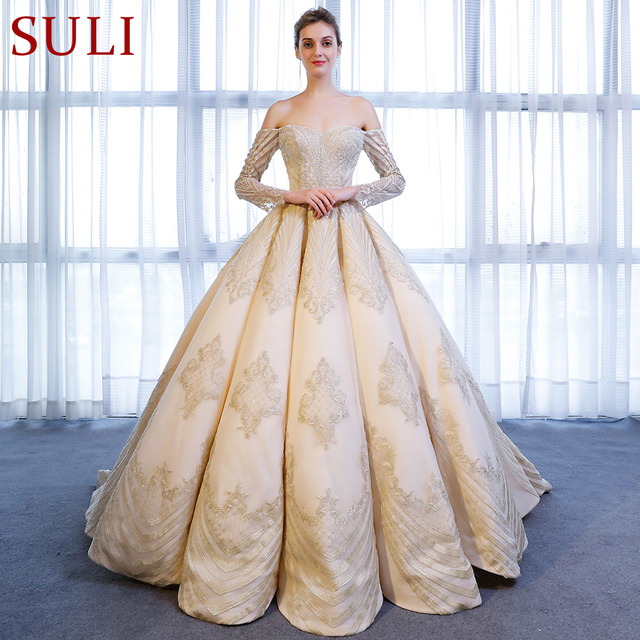 Sl 9027 Elegant Boat Neck Gold Lace Lique Long Sleeve Ball Gown Wedding Dress 2018