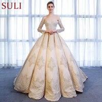 SL 9027 Elegant Boat Neck Gold Lace Applique Long Sleeve Ball Gown Wedding Dress 2018