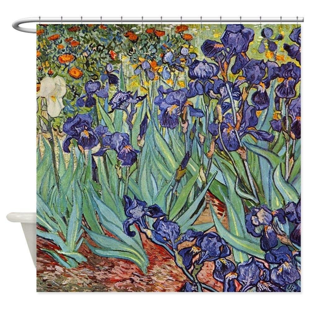 Van Gogh Purple Iris Colorful Floral Painting Show Decorative Fabric Shower Curtain