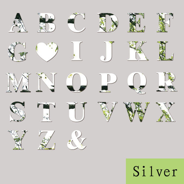 26 Letters Silver Mirror Wall Sticker Acrylic Wall Decals DIY Mural Art Home Decor Making Words Birthday Decoration