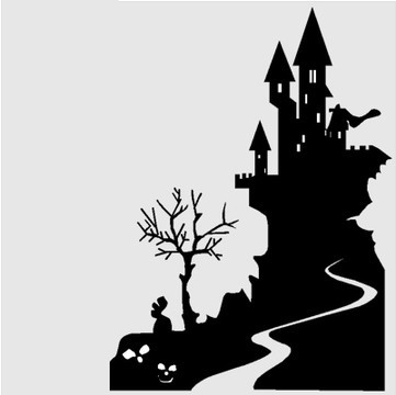 DCTAL Castle Halloween Wall Stickers Wall Decor Wall Decal Window Glass  Stickers