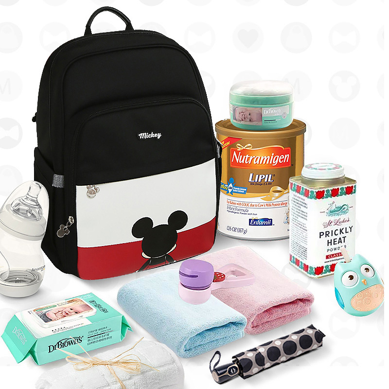 Disney PU Leather Baby Bag Organizer Tote USB Diaper Bags Mom Backpack Mother Maternity Bags Diaper Backpack Large Nappy Bag