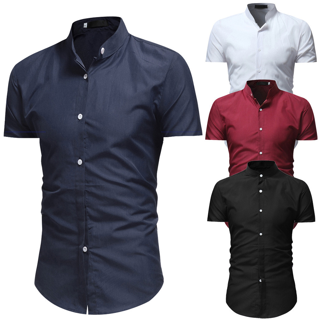 2019 Summer New Fashion Men's Solid Casual Button Down Short Sleeve Shirt Top Blouse Plus Size Solid Chemise Homme Z0320