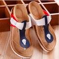 Sandalias de las mujeres, 2016 nueva moda zapatillas, sandalias de playa y zapatillas de corcho antideslizante de fondo grueso, mujeres