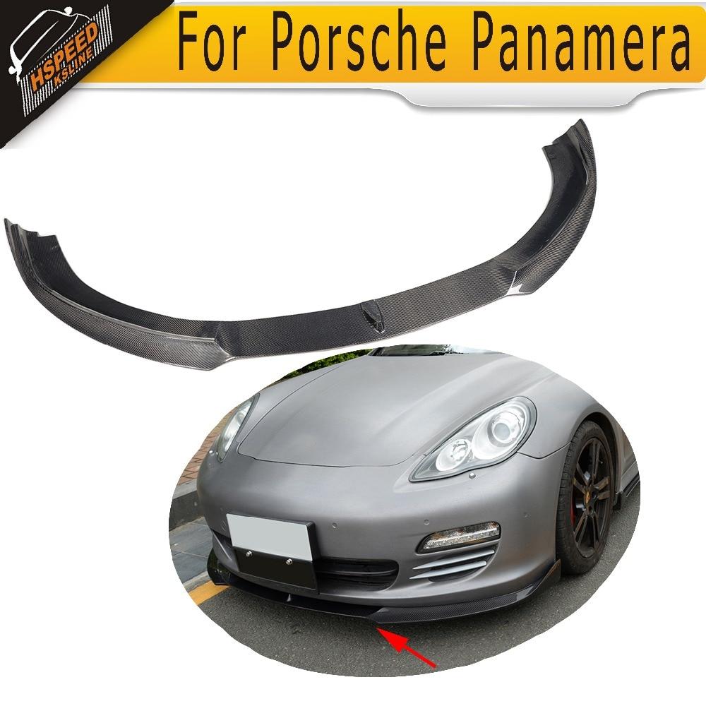 Lipatan bumper depan Serat Karbon untuk Porsche Panamera 2010- 2013 depan spoiler valance
