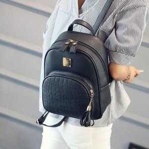 Image 4 - Женский кожаный рюкзак, школьные сумки для девочек подростков, Маленькая женская сумка с блестками и камнями в стиле преппи