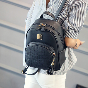 Image 4 - Women backpack leather school bags for teenager girls stone sequined female preppy style small  bag