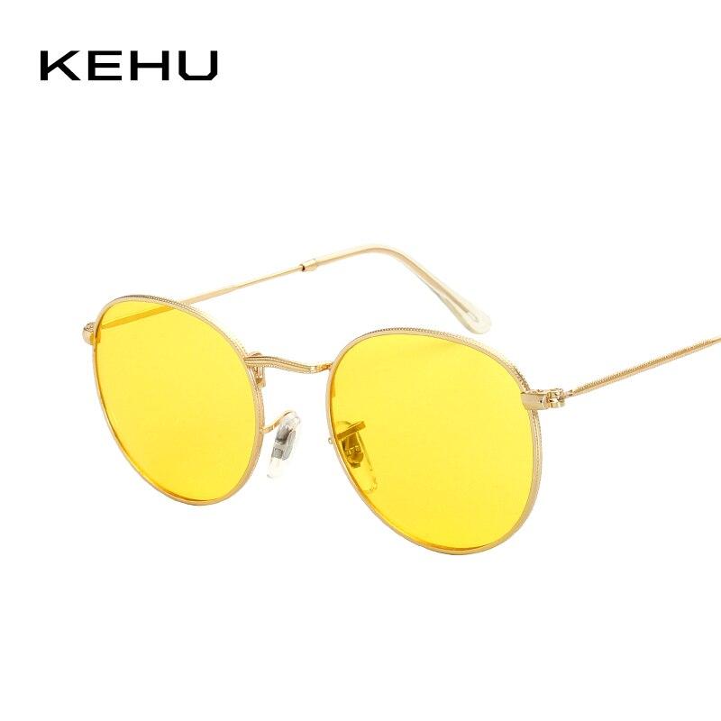 KEHU new Small Round Sunglasses Women Men Classic Brand Designer Metal Frame Ladies Clear Lens Eye Glasses For Female K9204