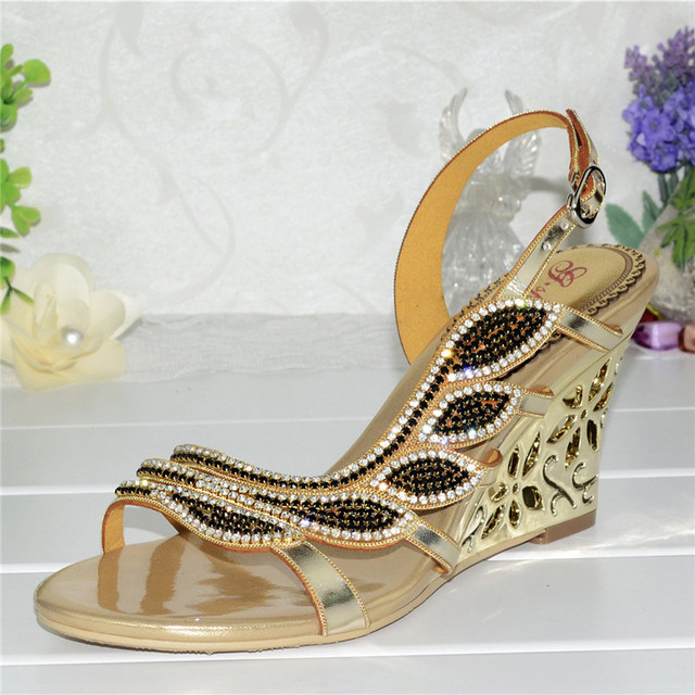 e8b16b99463 2018 Korean New Summer Gold Wedge Sandals Rhinestone Diamond Sexy High  Heels Wedding Shoes Good Qualities