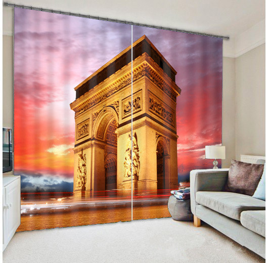 Photo Of Triumphal Arch 3D Window Curtain For Living RoomPhoto Of Triumphal Arch 3D Window Curtain For Living Room