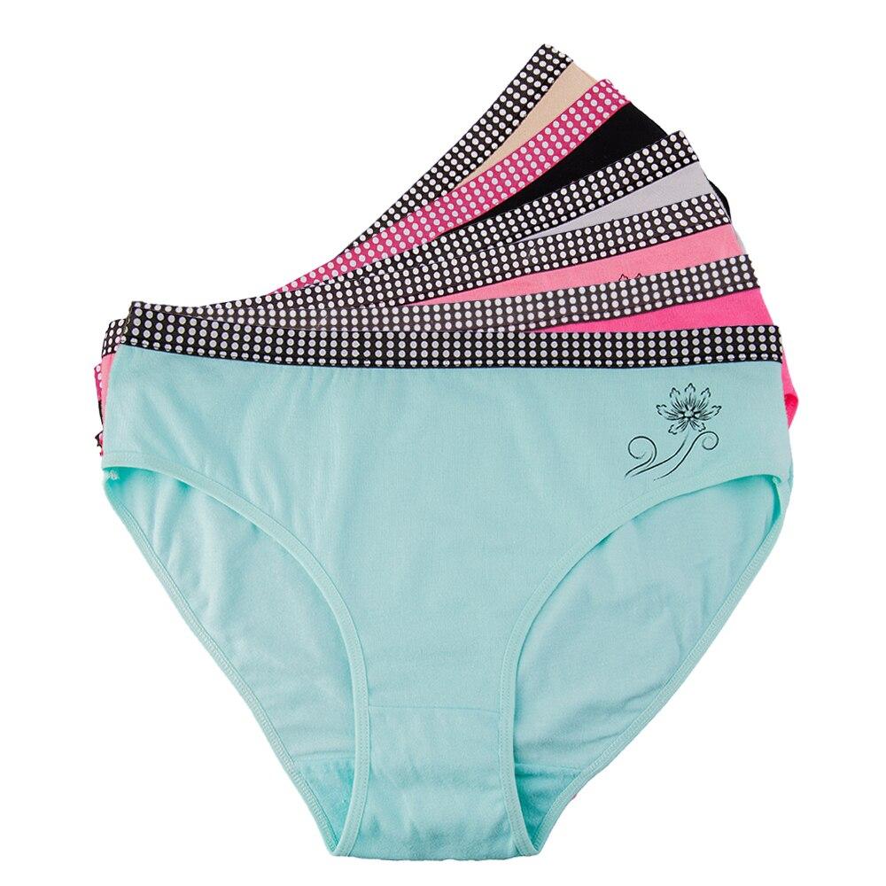 Sexy Women's Panties Plus Size Female Underwear Cotton Mid-rise Underpants Solid Color Ladies Briefs Floral Printed 3 Pcs/lot