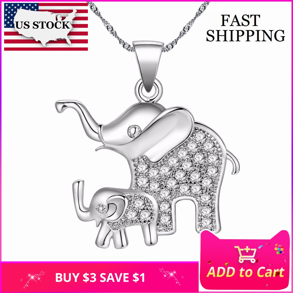 359c959f8d US STOCK Uloveido Pair Elephant Anime Necklace Female Women Silver Color  Bijouterie Necklace Pendants Cute Jewelry Collar PN4373