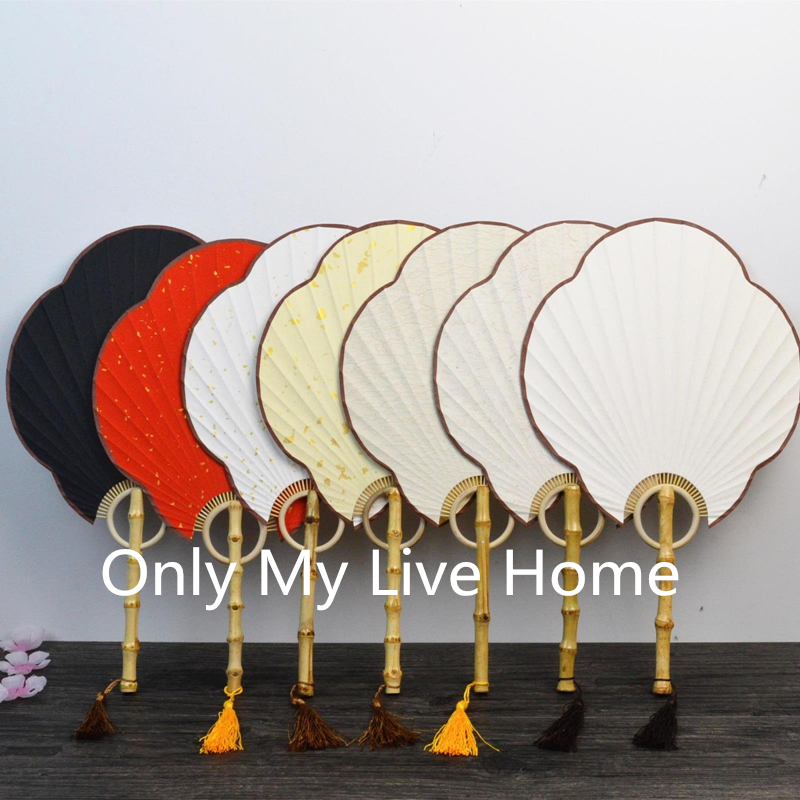 Large Handle DIY White Red Black Hand Fan Traditional Craft Chinese Rice Paper Fan Decoration Bamboo Root Ladies Fans in Decorative Fans from Home Garden