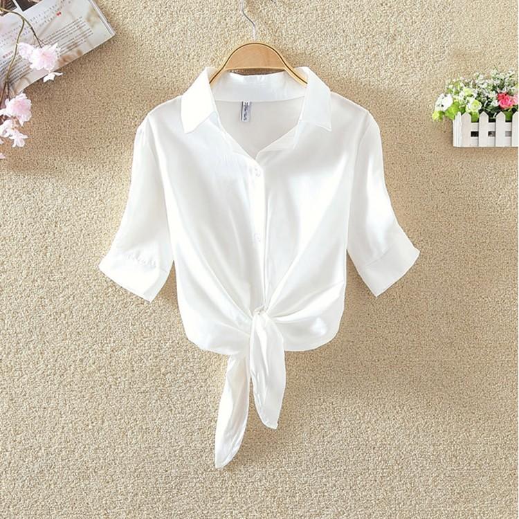 HTB1iOGtOVXXXXcZaXXXq6xXFXXX0 - Women Summer Chiffon Blouse Plus Size Short Sleeve Casual Shirt