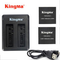 KingMa For Xiaomi Yi 4K Battery 2PCS 1400mAh Battery Dual USB Charger For XiaoYi Yi 4K