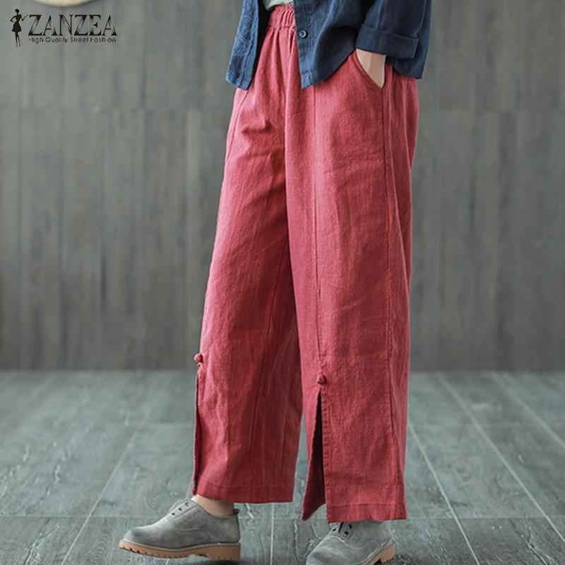 ZANZEA 2019 Vintage Wide Leg Pants Women's Trousers Casual Mid Elastic Waist Cropped Pants Female Spilt Pantalon Solid Palazzo