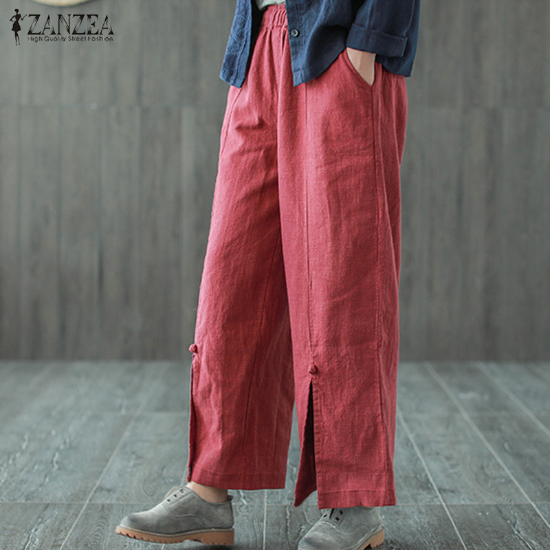ZANZEA 2019 Vintage   Wide     Leg     Pants   Women's Trousers Casual Mid Elastic Waist Cropped   Pants   Female Spilt Pantalon Solid Palazzo