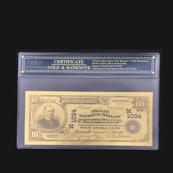Wysoka jakość dla koloru amerykański złoty banknot 1902 rok 10 dolarów banknotów w 24K złota folia z rama z tworzywa na prezent tanie i dobre opinie Patriotyzmu Pozłacane Antique sztuczna FGHGF 7days after you paid America Souvenir collection Gold
