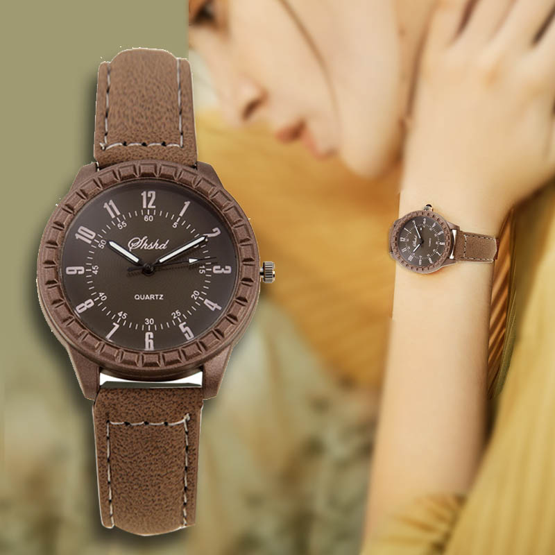 2019 New Vintage Women Watches Fashion Brown Leather Dress Watch Woman And Man Couple Watches Reloj Mujer Relogio Femino Clock