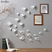 NOOLIM European 3D Ceramic Birds Wall Hanging Simulation Murals Wall Background Home Furnishing Crafts Creative Wall Decoration