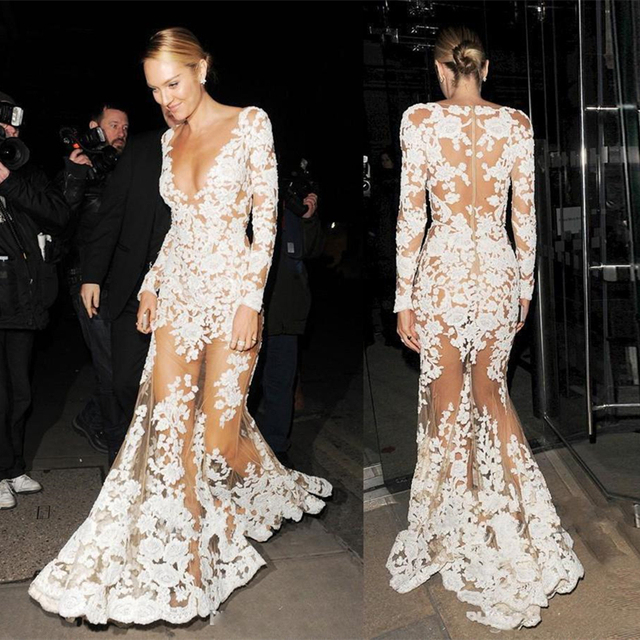 Robe De Soriee New Simple Wedding Dress Full Sleeve Lace: Robe De Soiree Sexy See Through Mermaid Evening Dresses