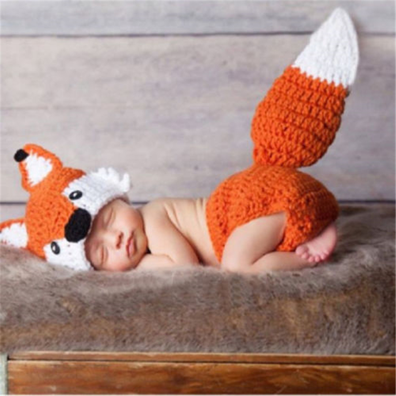 2017 New Hot Sale Photo Props Newborn Toddler Infant Baby Boy Girl Fox Ear Hat Bottom Photography 2Pcs Outfits Cute Prop Clothes newborn baby cute crochet knit costume prop outfits photo photography baby hat photo props new born baby girls cute outfits